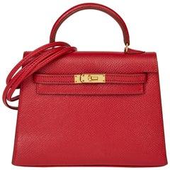 1994 Hermès Rouge Vif Courchevel Leather Vintage Kelly 15cm Sellier
