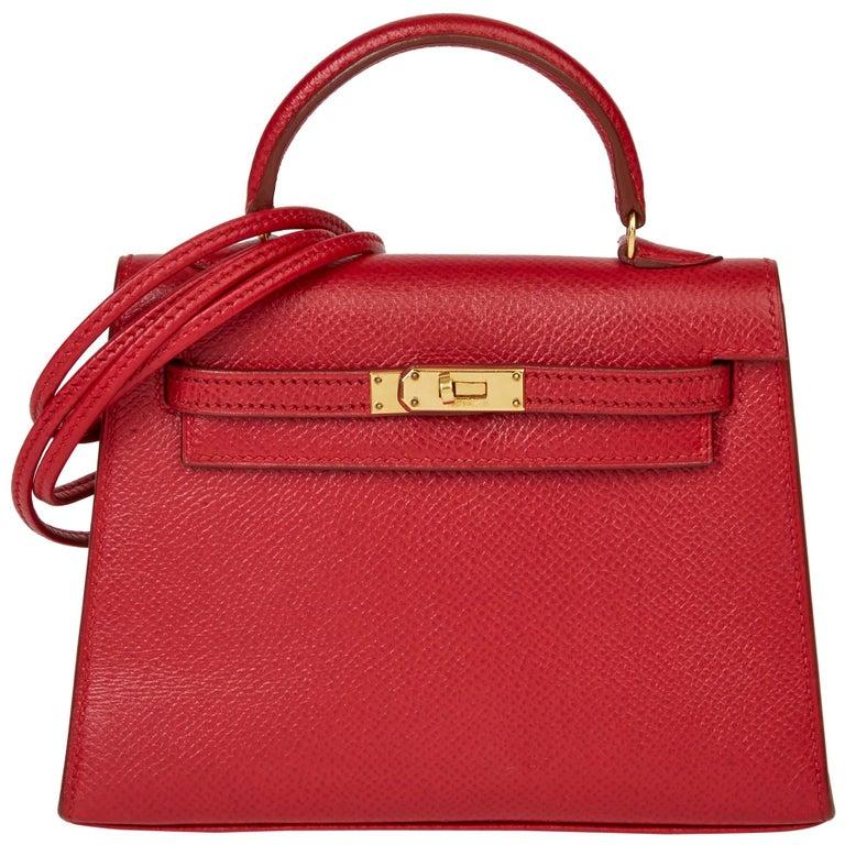 1994 Hermès Rouge Vif Courchevel Leather Vintage Kelly 15cm Sellier For Sale