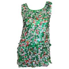 1994 Isaac Mizrahi Runway Green Aluminium Paillette Diet 7-Up Dress