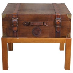 1994 Leather Steamer Trunk Coffee Side Table on Pine Stand Side Accent