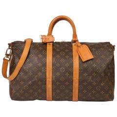 1994 Louis Vuitton Brown Monogram Canvas & Leather Vintage Keepall 45 Bandoulièr