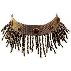 1994 RARE CHANEL Gripoix Fringe Leather Chain Choker Necklace