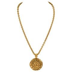 1994 Vintage Chanel Large Sun Logo Pendant Necklace