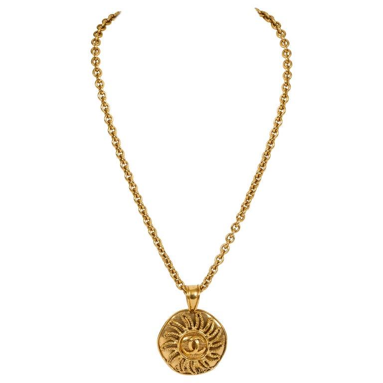 1994 Vintage Chanel Large Sun Logo Pendant Necklace For Sale
