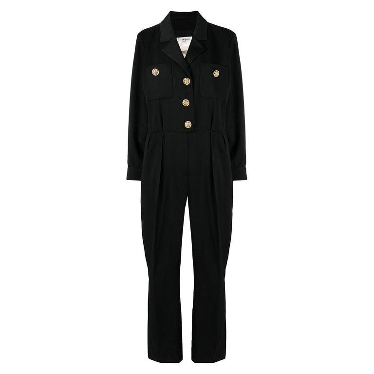 1994 Yves Saint Laurent YSL Evening Black Jumpsuit For Sale