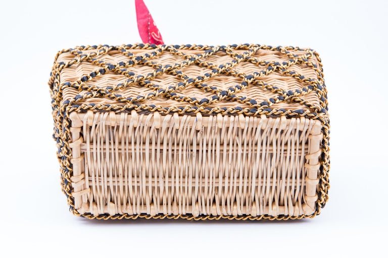 1994s Chanel Collector Catwalk Beige and Red Wicker Basket Bag 2
