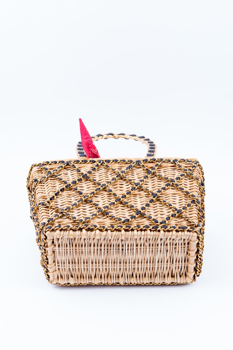 1994s Chanel Collector Catwalk Beige and Red Wicker Basket Bag 3