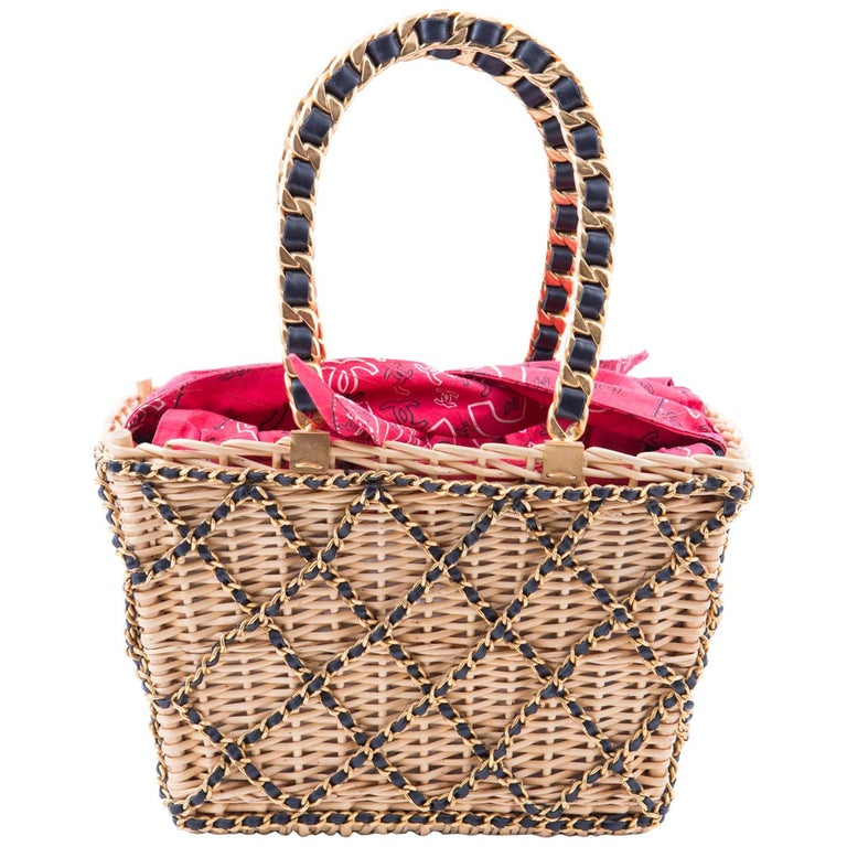 1994s Chanel Collector Catwalk Beige and Red Wicker Basket Bag