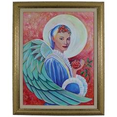 1995 Archangel Guardian Angel Halo Original Portrait Oil Painting by Cole