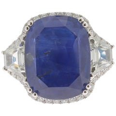 19.95 Carat Cushion Intense Blue Ceylon Sapphire Ring 18 Karat White Gold