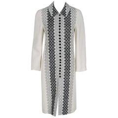 1995 Carolina Herrera Black & White Embroidered Deco-Circles Linen Jacket