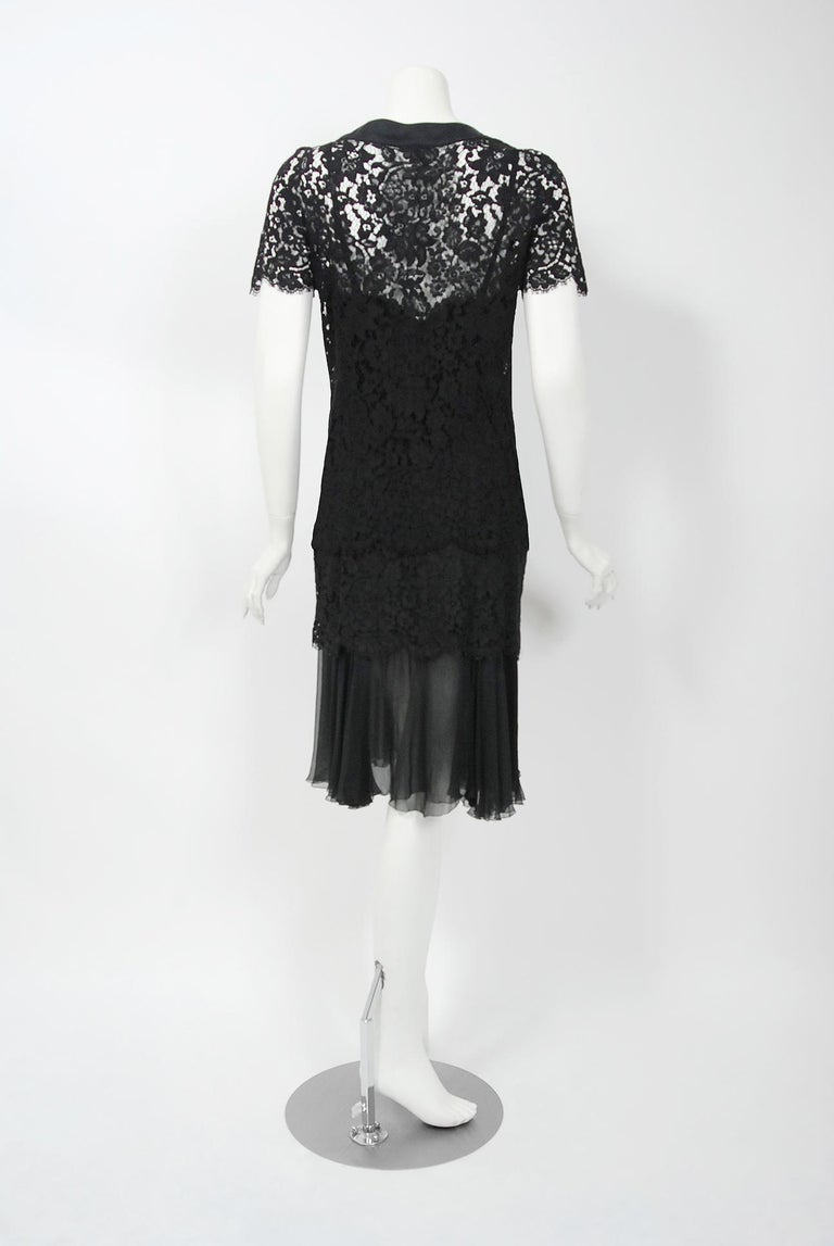 Vintage 1995 Chanel Black Lace & Sheer Silk Slip Dress w/ Camellia Button Blouse 6