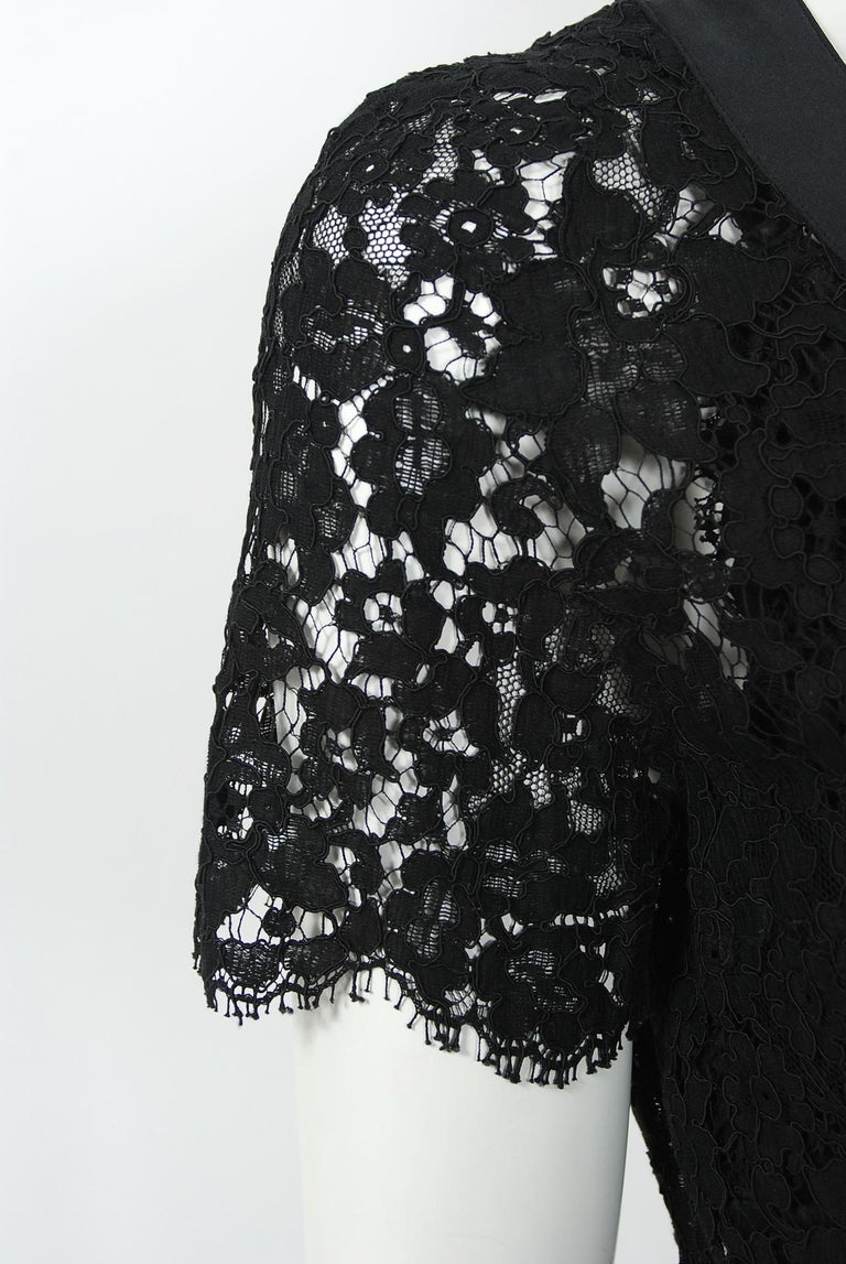 Vintage 1995 Chanel Black Lace & Sheer Silk Slip Dress w/ Camellia Button Blouse 7