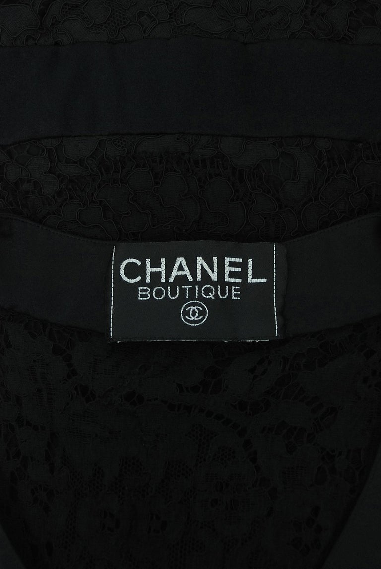 Vintage 1995 Chanel Black Lace & Sheer Silk Slip Dress w/ Camellia Button Blouse 8