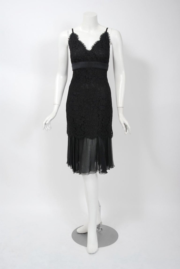 Women's Vintage 1995 Chanel Black Lace & Sheer Silk Slip Dress w/ Camellia Button Blouse