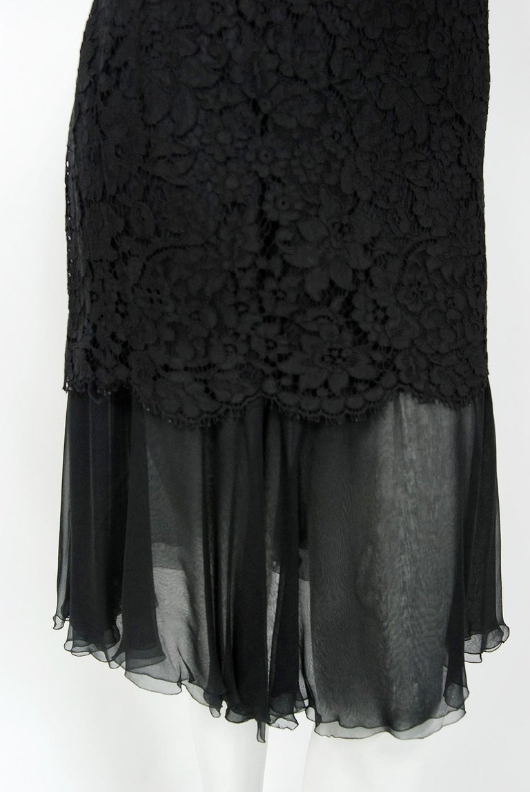 Vintage 1995 Chanel Black Lace & Sheer Silk Slip Dress w/ Camellia Button Blouse 2