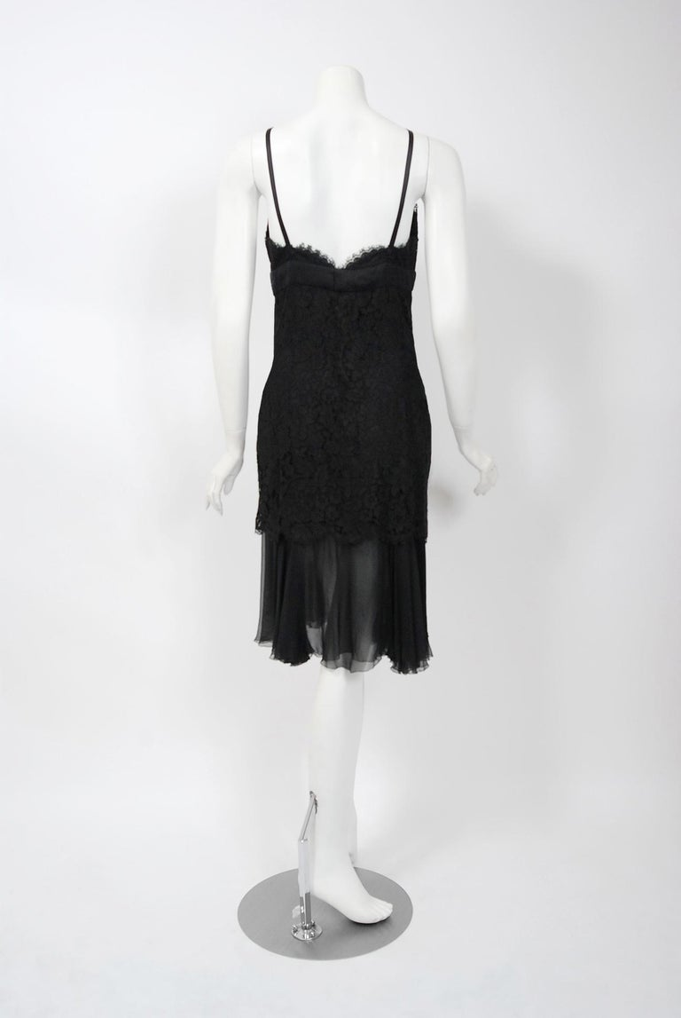 Vintage 1995 Chanel Black Lace & Sheer Silk Slip Dress w/ Camellia Button Blouse 3