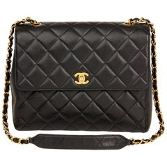1995 Chanel Black Quilted Caviar Leather Vintage Classic Single Flap Bag