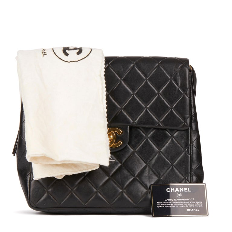 1995 Chanel Black Quilted Lambskin Vintage Classic Timeless Backpack 7