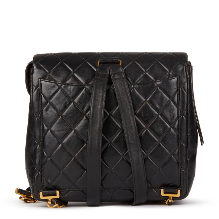 Women's 1995 Chanel Black Quilted Lambskin Vintage Classic Timeless Backpack
