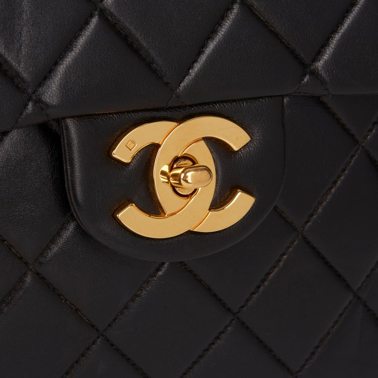 1995 Chanel Black Quilted Lambskin Vintage Classic Timeless Backpack 2