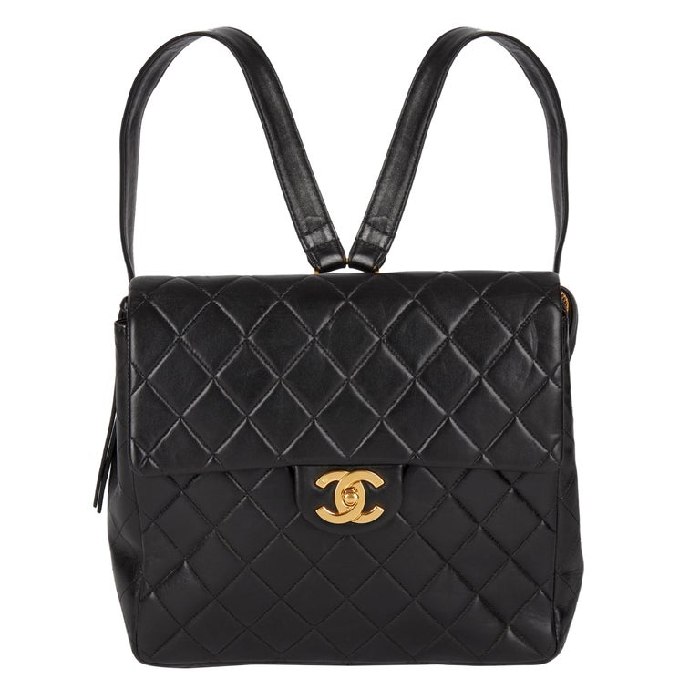 1995 Chanel Black Quilted Lambskin Vintage Classic Timeless Backpack