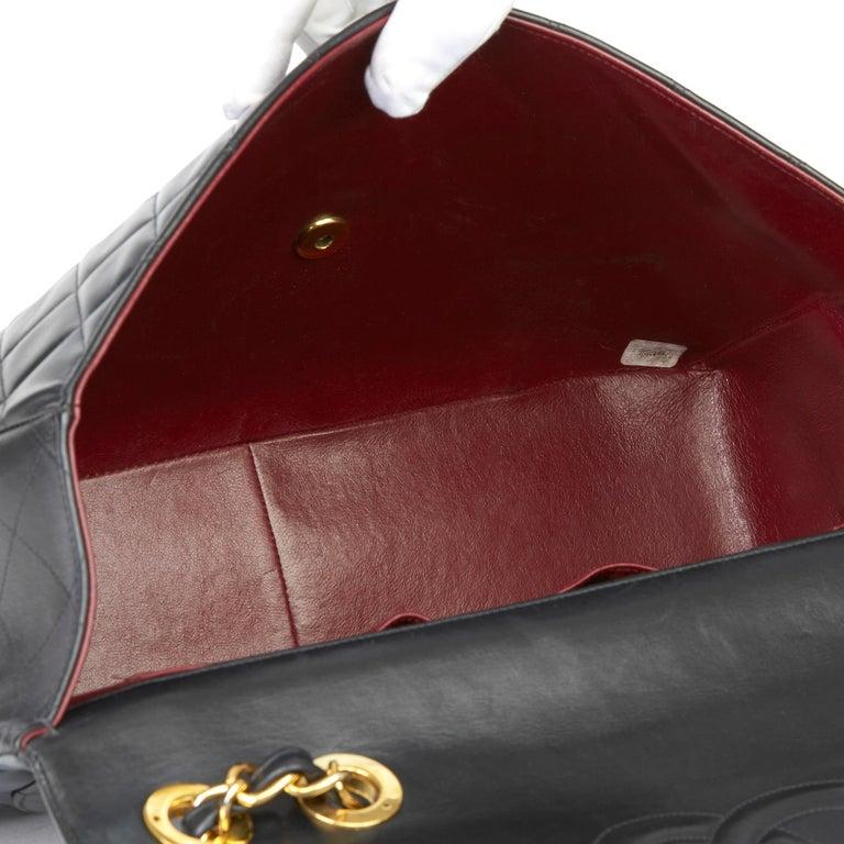 1995 Chanel Black Quilted Lambskin Vintage Maxi Jumbo XL Flap Bag  6