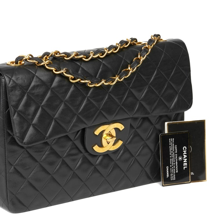 1995 Chanel Black Quilted Lambskin Vintage Maxi Jumbo XL Flap Bag  7