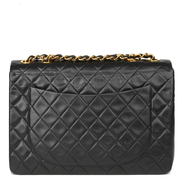 Women's 1995 Chanel Black Quilted Lambskin Vintage Maxi Jumbo XL Flap Bag