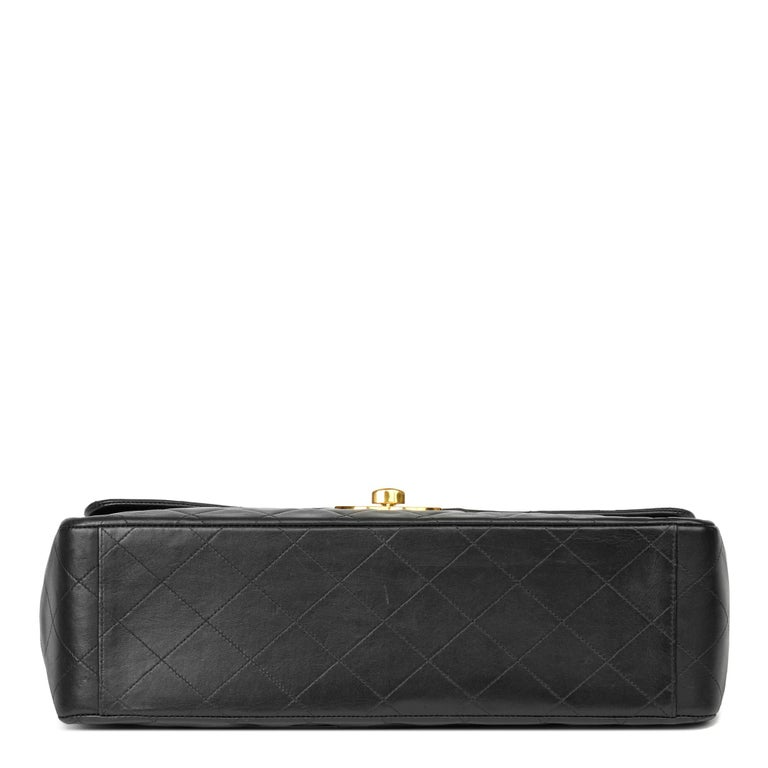 1995 Chanel Black Quilted Lambskin Vintage Maxi Jumbo XL Flap Bag  1