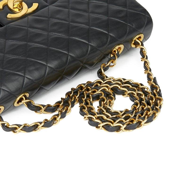 1995 Chanel Black Quilted Lambskin Vintage Maxi Jumbo XL Flap Bag  3