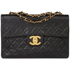 1995 Chanel Black Quilted Lambskin Vintage Maxi Jumbo XL Flap Bag