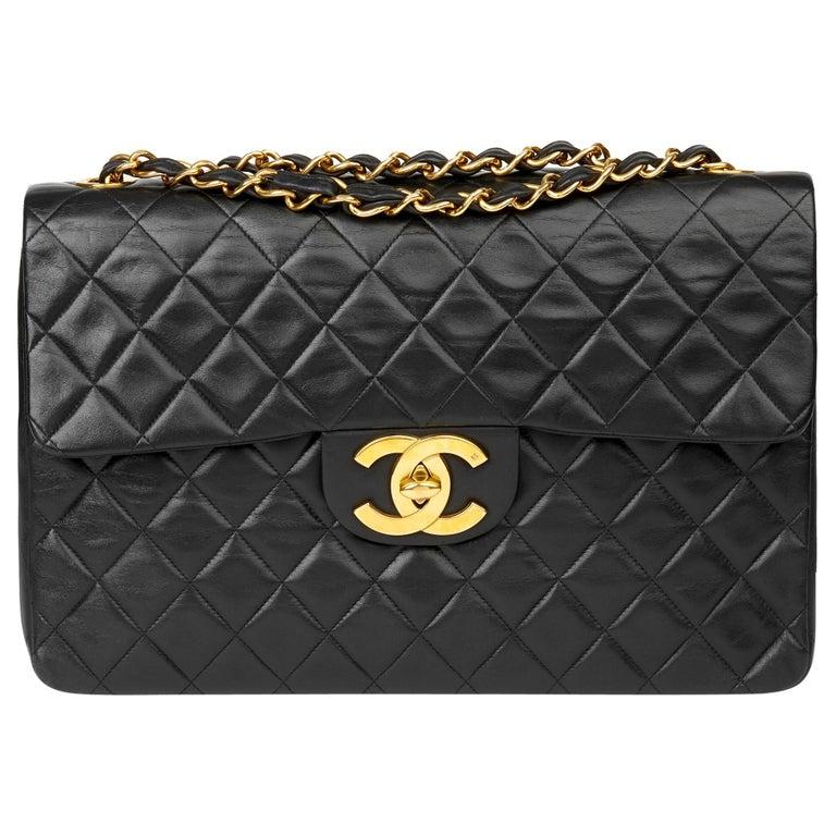 1995 Chanel Black Quilted Lambskin Vintage Maxi Jumbo XL Flap Bag
