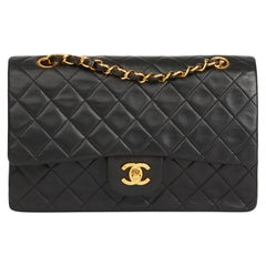 1995 Chanel Black Quilted Lambskin Vintage Medium Classic Double Flap Bag