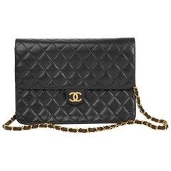 1995 Chanel Black Quilted Lambskin Vintage Medium Classic Single Flap Bag