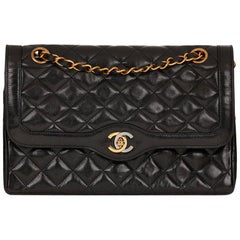 1995 Chanel Black Quilted Lambskin Vintage Medium Paris Limited Double Flap Bag