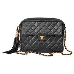 1995 Chanel Black Quilted Lambskin Vintage Timeless Fringe Camera Bag