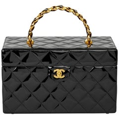 1995 Chanel Black Quilted Patent Leather Vintage Classic Vanity Case