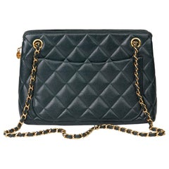 1995 Chanel Forest Green Quilted Caviar Leather Vintage Timeless Shoulder Bag