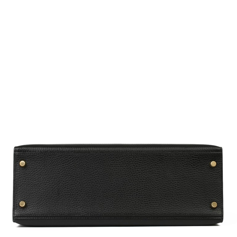 1995 Hermes Black Ardennes Leather Vintage Kelly 35cm Sellier For Sale 6