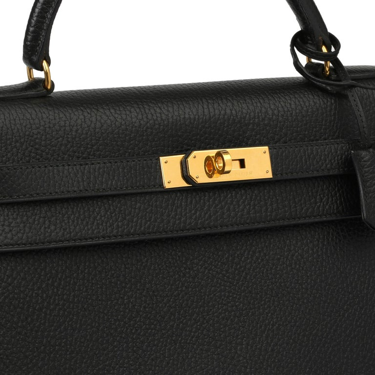 1995 Hermes Black Ardennes Leather Vintage Kelly 35cm Sellier For Sale 7