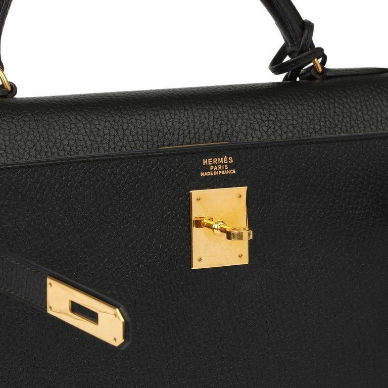 HERMÈS Black Ardennes Leather Vintage Kelly 35cm Sellier  Xupes Reference: HB3970 Serial Number: (Y) Age (Circa): 1995 Accompanied By: Hermes Box, Keys, Clochette, Shoulder Strap Authenticity Details: Date Stamp (Made in France) Gender: Ladies Type:
