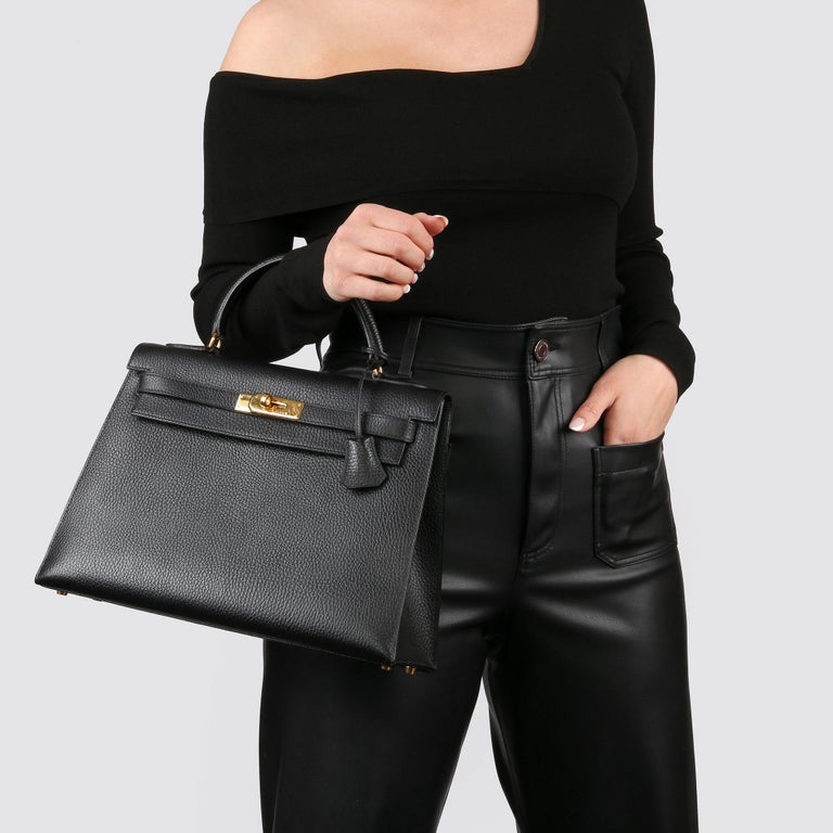 1995 Hermes Black Ardennes Leather Vintage Kelly 35cm Sellier For Sale 1