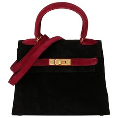 1995 Hermes Framboise & Black Veau Doblis Suede Vintage Kelly 20cm Sellier