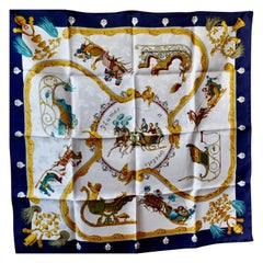 "1995 Hermes Silk Scarf ""Plumes et Grelots"" (Feathers and Bells) by Julie Abadie"