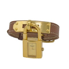 1995 Hermes Tan Leather Kelly Watch with Gold Hardware