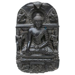 1995 Indian Black Marble Hand Carved Sitting Buddha Statue