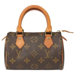 1995 Louis Vuitton Brown Monogram Coated Canvas & Vachetta Vintage Mini Speedy