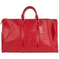 1995 Louis Vuitton Red Epi Leather Vintage Keepall 50