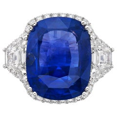 19.95 Natural Unheated Ceylon Sapphire & GRS Certified Diamond Ring,Cushion Cut